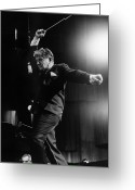 Orchestra Greeting Cards - Leonard Bernstein Greeting Card by Granger