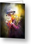 Composer Greeting Cards - Leonard Cohen 02 Greeting Card by Miki De Goodaboom