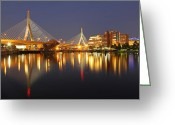 Nightlight Greeting Cards - Leonard P. Zakim Bunker Hill Memorial Bridge Greeting Card by Juergen Roth