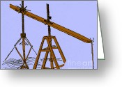 Vinci Greeting Cards - Leonardo Da Vincis Dredge Machine Greeting Card by Science Source