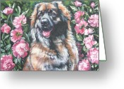 L.a.shepard Greeting Cards - Leonberger in the Peonies Greeting Card by Lee Ann Shepard