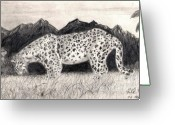 Masterpiece Drawings Greeting Cards - Leopard 2 Greeting Card by Peter Kulik