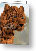 Felidae Digital Art Greeting Cards - LEOPARD - Featured in the Group Wildlife Greeting Card by EricaMaxine  Price