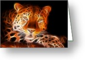 Animal Hunting Greeting Cards - Leopard Intimidating Look Greeting Card by Pamela Johnson