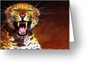 Big Cats Greeting Cards - Leopard Greeting Card by Paul Dene Marlor
