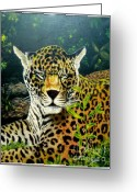 Mammalas Greeting Cards - Leopard Greeting Card by Peter Kulik