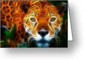 Animal Hunting Greeting Cards - Leopard Watching at his Prey Greeting Card by Pamela Johnson