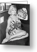 Fashion Model Photography Greeting Cards - Leopardskin Radio Greeting Card by Hulton Collection