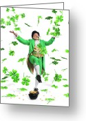 Gnome Greeting Cards - Leprechaun Tossing Shamrock Leaves up in the Air Greeting Card by Oleksiy Maksymenko