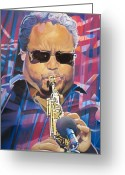 Musician Drawings Greeting Cards - Leroi Moore and 2007 Lights Greeting Card by Joshua Morton