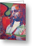 Player Greeting Cards - Leroi Moore Colorful Full Band Series Greeting Card by Joshua Morton