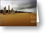 Nazis Greeting Cards - Les Braves Omaha Beach Greeting Card by Jan Faul