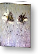Monotone Painting Greeting Cards - Les Deux Fleurs Greeting Card by Madeleine Holzberg