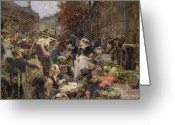 Trader Greeting Cards - Les Halles Greeting Card by Leon Augustin Lhermitte