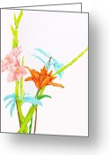 Nature Study Painting Greeting Cards - Les Jolies Fleurs  Greeting Card by Beth Saffer