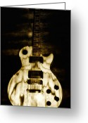 Axe Greeting Cards - Les Paul Guitar Greeting Card by Bill Cannon
