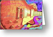 Select Greeting Cards - Les Paul Sunburst Greeting Card by David Lloyd Glover