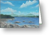 Berges Greeting Cards - Les Ponts Greeting Card by Jean Dore