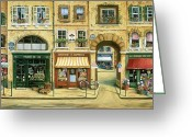 Fine Art Cat Greeting Cards - Les Rues de Paris Greeting Card by Marilyn Dunlap