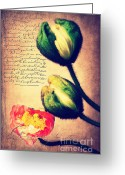 Bud Mixed Media Greeting Cards - Les temps de lamour Greeting Card by Angela Doelling AD DESIGN Photo and PhotoArt