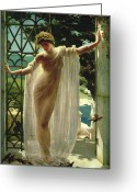 Gardens Greeting Cards - Lesbia Greeting Card by John Reinhard Weguelin