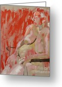Nudes Drawings Greeting Cards - Lesley on red Greeting Card by Joanne Claxton