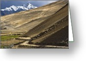 Mountain Texture Greeting Cards - Less traveled Greeting Card by Hitendra Sinkar