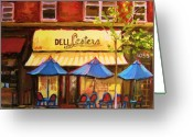 Montreal Citystreets Greeting Cards - Lesters Cafe Greeting Card by Carole Spandau