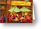 Schwartzs Hebrew Delicatessen Greeting Cards - Lesters Monsieur Smoked Meat Greeting Card by Carole Spandau
