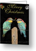 London Sculpture Greeting Cards - Lesvos Christmas Birds Greeting Card by Eric Kempson
