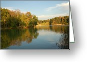 Lake With Reflections Greeting Cards - Let Fall Begin Greeting Card by Monica Lewis