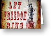 Cave Mixed Media Greeting Cards - Let Freedom Ring Greeting Card by Angelina Vick