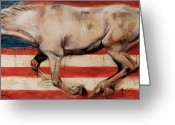 Wild Horses Greeting Cards - Let Freedom Run Greeting Card by Mary Leslie
