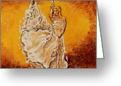 Fire Dance Painting Greeting Cards - Let it be peace in my soul Greeting Card by Karina Llergo Salto