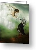 Angel Digital Art Greeting Cards - Let Me Go Greeting Card by Karen Koski