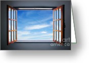 Curtain Greeting Cards - Let the blue sky in Greeting Card by Carlos Caetano