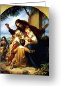 Religious Greeting Cards - Let the Children Come to Me Greeting Card by Carl Vogel von Vogelstein
