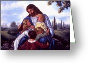 Jesus With Children Greeting Cards - Let the children come to me. Greeting Card by Grace Nikander