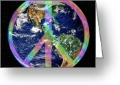 Hippie Art Greeting Cards - Let There Be Peace on Earth Greeting Card by Kristin Elmquist