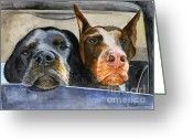 Doberman Greeting Cards - Lets Go For a Ride Greeting Card by Sheryl Heatherly Hawkins