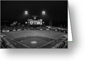 Att Baseball Park Greeting Cards - Lets Go Giants BW Greeting Card by Rick DeMartile