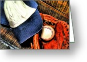 Baseball Cap Greeting Cards - Lets Play Ball Greeting Card by Jimmy Ostgard