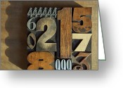 Letterpress Greeting Cards - Letterpress Numbers Greeting Card by Daryl Benson