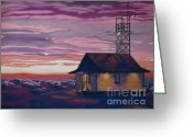 Sea Life Pastels Greeting Cards - Leuty Life Guard House Greeting Card by Tracy L Teeter