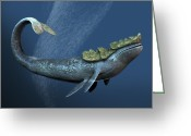 Sea Shell Art Greeting Cards - Leviathan Sea Monster, Artwork Greeting Card by Victor Habbick Visions