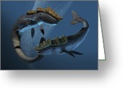 Sea Shell Art Greeting Cards - Leviathan Sea Monsters, Artwork Greeting Card by Victor Habbick Visions