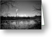 Factory Greeting Cards - Lewiston Before Sunrise Greeting Card by Bob Orsillo