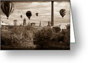 Balloon Festival Greeting Cards - Lewiston Maine Hot Air Balloons Greeting Card by Bob Orsillo