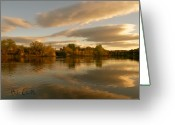Reflection Photo Greeting Cards - Lewsiton Across The River Greeting Card by Bob Orsillo