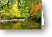 Fall River Scenes Painting Greeting Cards - Li12.22 Greeting Card by Shasta Eone